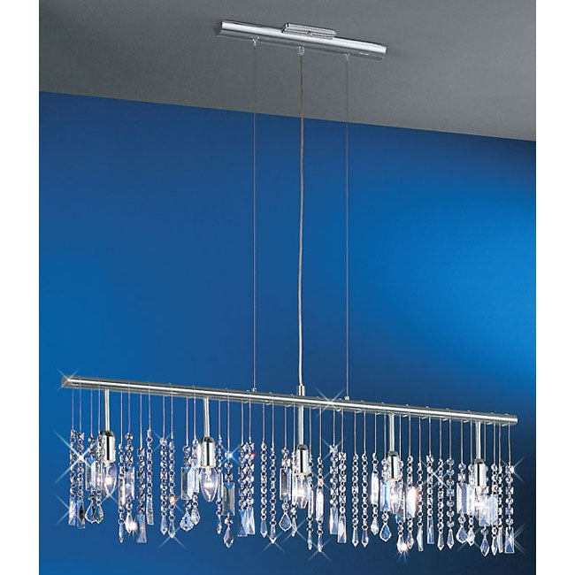 Linear 5-light 38-inch Bar Pendant Crystal Chandelier - Thumbnail 0
