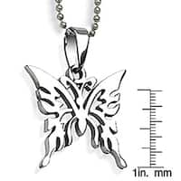 Stainless Steel Laser-carved Butterfly Necklace