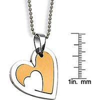 Stainless Steel Laser-carved Two-tone Heart Necklace
