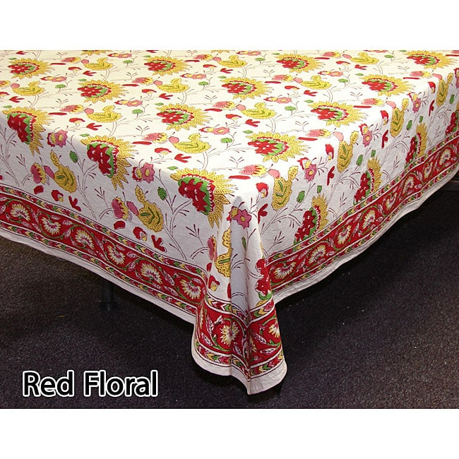 Fair Trade Red Floral Table Covers/ Napkin Set (India)