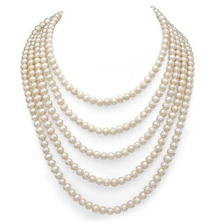 DaVonna White Freshwater Pearl 100-inch Endless Necklace (5-6 mm)