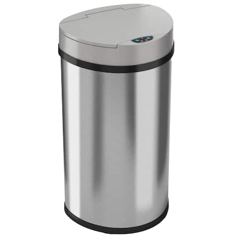 iTouchless Semi-Round Space-saving Wide Opening 13 Gal. Touchless Sensor Trash Can