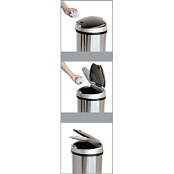 iTouchless Semi-Round Space-saving Wide Opening 13-gallon Trash Can