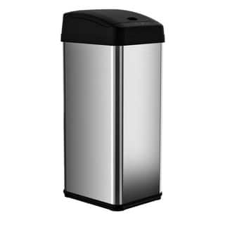 itouchless 13 gallon square extra wide opening trash can - Stainless Steel Kitchen Trash Can