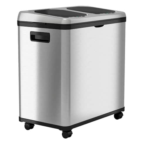 iTouchless Stainless Steel Trash Can / Recycler, Automatic Sensor Touchless Lid, Dual-Compartment (8 Gal each)  16 Gal
