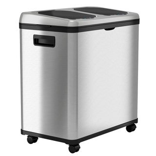 iTouchless Stainless Steel Trash Can / Recycler, Automatic Sensor Touchless Lid, Dual-Compartment (8 Gal each) – 16 Gal
