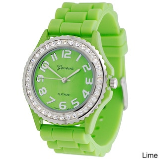Geneva Women's Platinum CZ Accented Silicone Link Watch