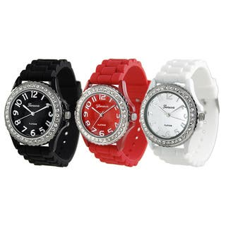 Geneva Women's Platinum CZ Accented Silicone Link Watch|https://ak1.ostkcdn.com/images/products/4274322/P12257976.jpg?impolicy=medium