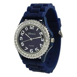 Geneva Women's Platinum CZ Accent Rubber Strap Watch - Thumbnail 1