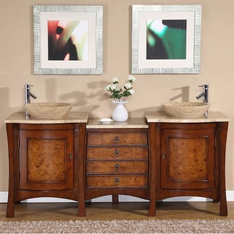 Silkroad Exclusive Rocklin Bathroom Double Vessel Vanity