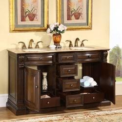 Silkroad Exclusive Orinda Double Sink Bathroom Vanity