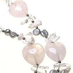 Silver Quartz and Pearl Necklace (China)