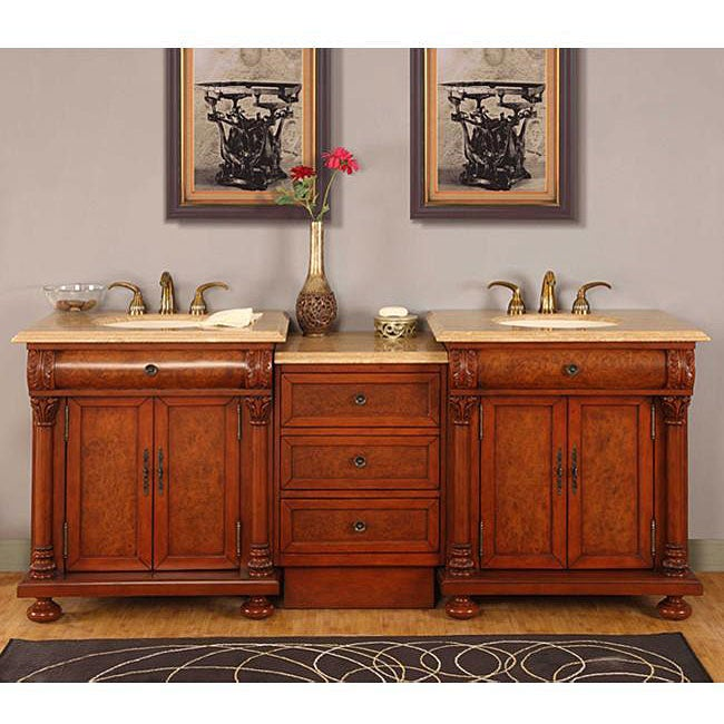 Silkroad Exclusive Mendicino Bathroom LED-lighted Double Sink Vanity