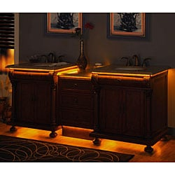Silkroad Exclusive Mendicino Bathroom LED-lighted Double Sink Vanity - Thumbnail 1