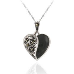 Glitzy Rocks Sterling Silver Marcasite and Onyx Heart Necklace