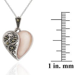 Glitzy Rocks Sterling Silver Marcasite and Pink Shell Heart Necklace