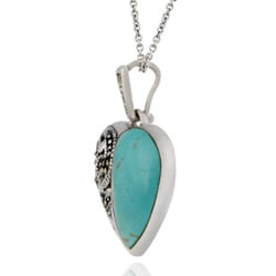 Glitzy Rocks Sterling Silver Marcasite and Synthetic Turquoise Heart Necklace - Thumbnail 1
