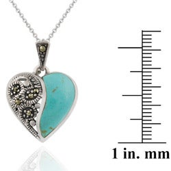 Glitzy Rocks Sterling Silver Marcasite and Synthetic Turquoise Heart Necklace - Thumbnail 2