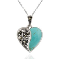 Glitzy Rocks Sterling Silver Marcasite and Synthetic Turquoise Heart Necklace