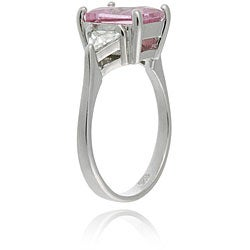 Icz Stonez Sterling Silver Radiant-cut Pink and Clear Cubic Zirconia Ring - Thumbnail 1