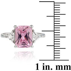 Icz Stonez Sterling Silver Radiant-cut Pink and Clear Cubic Zirconia Ring - Thumbnail 2