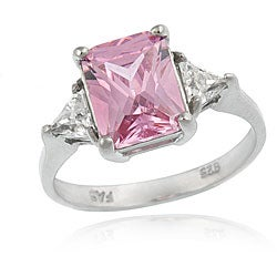 Icz Stonez Sterling Silver Radiant-cut Pink and Clear Cubic Zirconia Ring