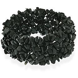 Glitzy Rocks Black Onyx Chip Multi-row Stretch Bracelet