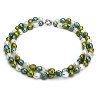 DaVonna Sterling silver Double-row Baroque Multi-green Freshwater Pearl 16-inch Necklace (8-9 mm)