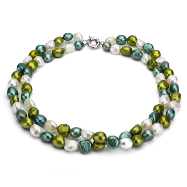 Multi Row Pearl Necklace: Shop DaVonna Sterling Silver Double-row Baroque Multi