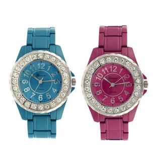 Geneva Platinum Women's CZ Accent Link-Style Watch
