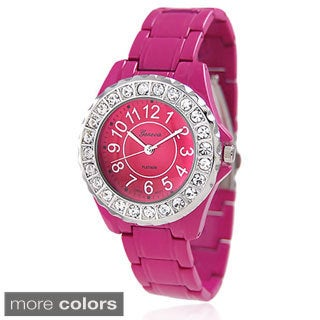 Geneva Platinum Women's CZ Accent Link-Style Watch