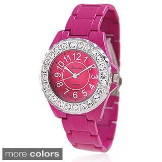 Geneva Platinum Women's CZ Accent Link-Style Watch|https://ak1.ostkcdn.com/images/products/4279020/P12261742.jpg?impolicy=medium