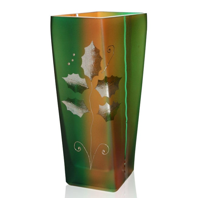 Holiday Holly Design Vase