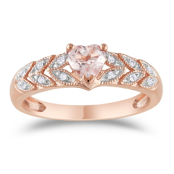 10k Rose Gold Heart-Cut Morganite and Diamond Leaf Set Anniversary Ring by Miadora