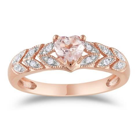 Miadora 10k Rose Gold Heart-cut Morganite and Diamond Accent Leaf Set Anniversary Ring
