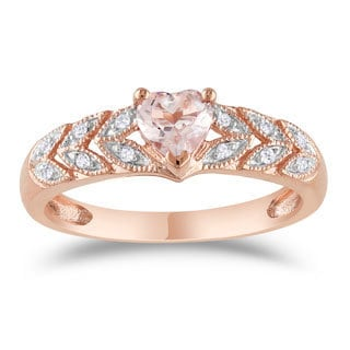Miadora 10k Rose Gold Heart-cut Morganite and Diamond Accent Leaf Set Anniversary Ring