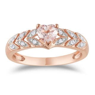 miadora 10k rose gold heart cut morganite and diamond accent leaf set anniversary ring - Morganite Wedding Ring
