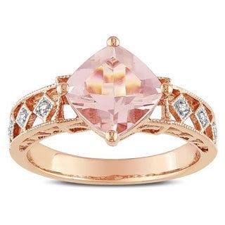 Miadora 10k Pink Gold Morganite and Diamond Accent Ring