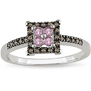 Miadora 10k Gold Pink Sapphire and 1/10ct TDW Brown Diamond Ring