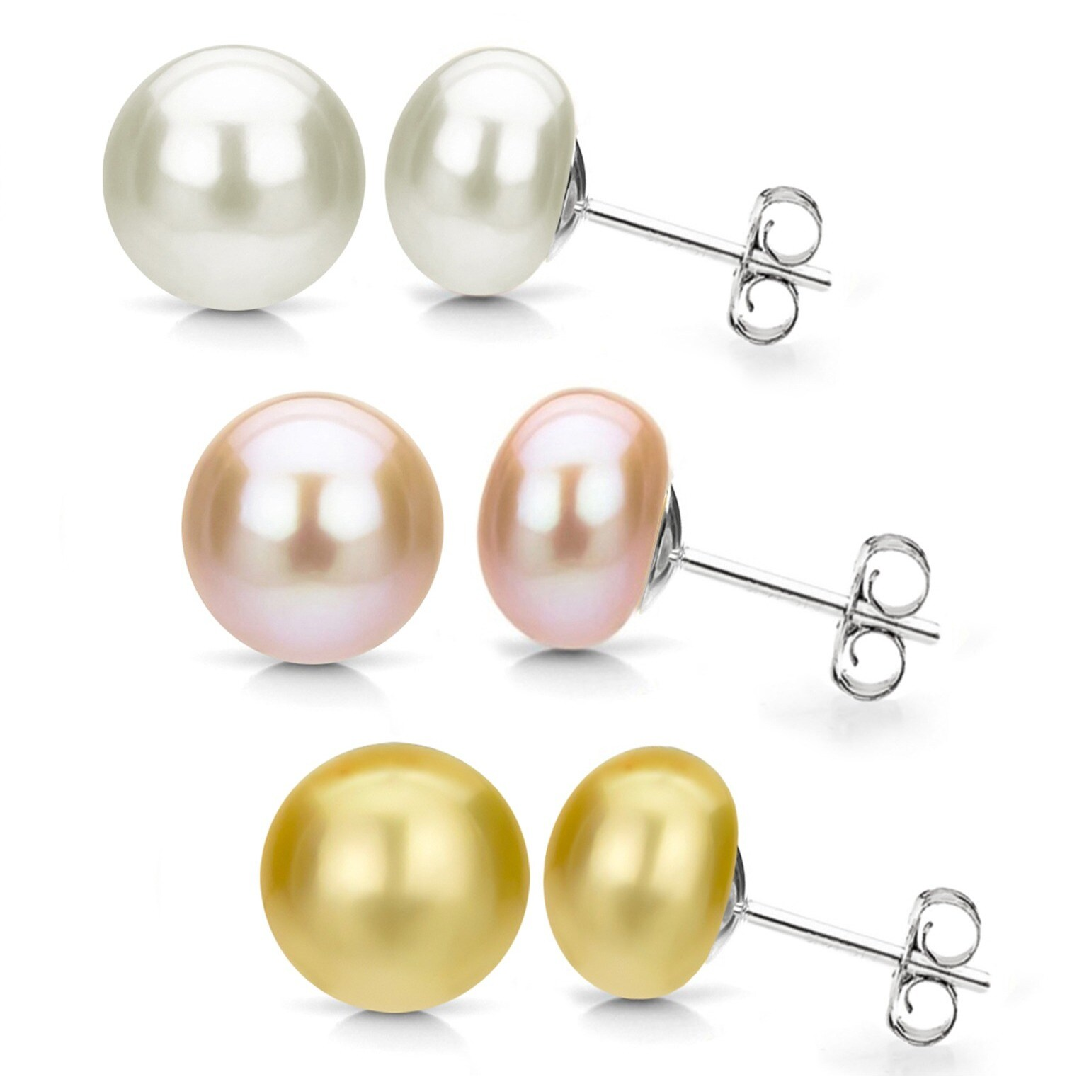 Davonna Silver Pink Gold And White Fw Pearl Stud Earrings Set 8 9 Mm
