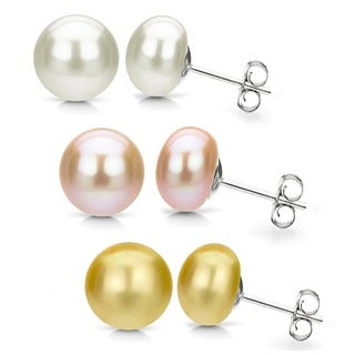 DaVonna Silver Pink Gold and White FW Pearl Stud Earrings Set (8-9 mm)