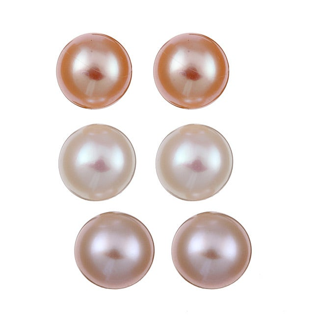 DaVonna Silver Lavender Peach and White FW Pearl Stud Earrings Set (8-9 mm)