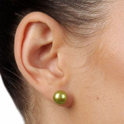 DaVonna Silver White Blue and Green FW Pearl Stud Earrings Set (8-9 mm)