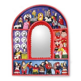 Handmade 'Jesus in Ayacucho' Mirror (Peru) - Red - N/A