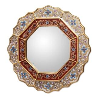 Handmade White Star Reverse Painted Glass Wood Mirror (Peru) - Gold