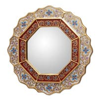 Handmade 'White Star' Mirror (Peru) - Gold