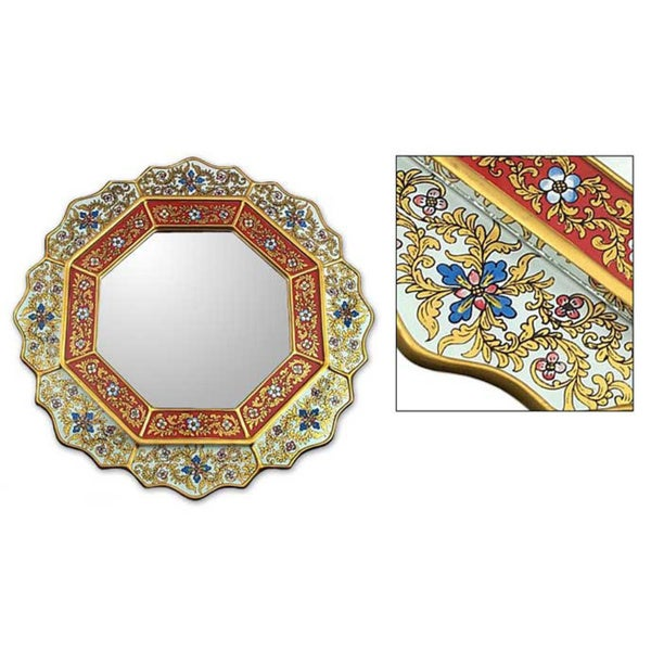 Handmade 'White Star' Mirror (Peru)