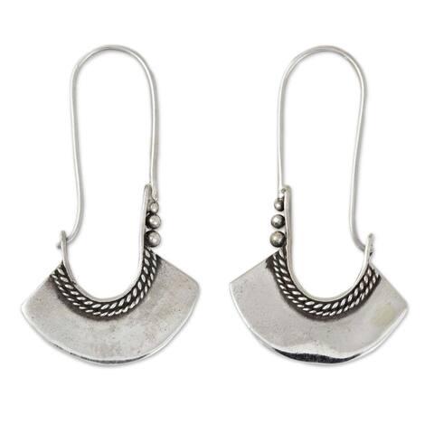 NOVICA Handmade Sterling Silver Hollow Bell Delicate Hoop Style Earrings (Thailand)
