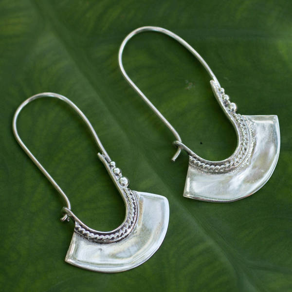 Handmade Sterling Silver Hollow Bell Delicate Hoop Style Earrings (Thailand)