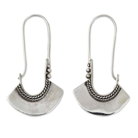 Handmade Sterling Silver Hollow Bell Delicate Hoop Style Earrings (Thailand)